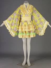 yellow sakula pattern kimono style cosplay dress 14g