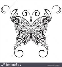 abstract forms vector monochrome butterfly stock