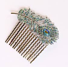 hair broach teal blue peacock feather hair comb wedding bridesmaid accessory