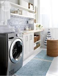 high low beautiful blue laundry room style at home