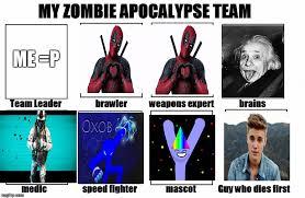 Zombie Team Meme - my zombie apocalypse team imgflip