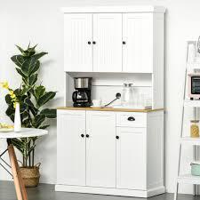 kitchen cupboard storage ideas ebay homcom 71 wood kitchen pantry storage cabinet microwave oven free standing
