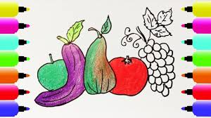 how to draw fruits coloring pages for kids nursery rhymes art