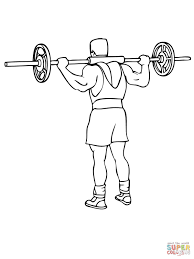 barbell good morning exercise coloring page free printable