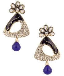 danglers earrings design voylla dangler earrings with dainty design kundan details blue