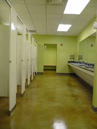light green epoxy painting concrete floors in bathroom combined