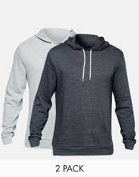 asos hoodie 2 pack grey marl charcoal save 17 in blue for men lyst
