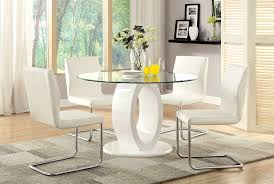 Glass Top Pedestal Dining Room Tables by Amazon Com Furniture Of America Quezon Round Glass Top Pedestal