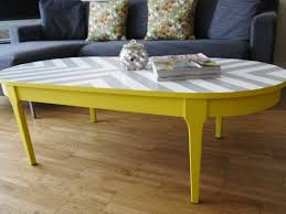 Refinishing Coffee Table Ideas by Bespoke Hand Painted Upcycled Geometric Chevron Oval Wood Coffee