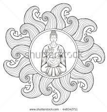 buddha hand tattoo vector sitting buddha lotus pose buddhism stock vector 526374115