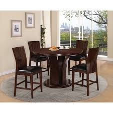 contempo counter dining table and 4 espresso seat dining chairs