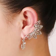 earring cuffs korean olive leaf ear cuff clip on earrings one exaggerated