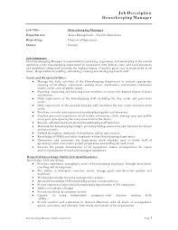 Housekeeper Resume Sample by Job Housekeeping Job Description Resume