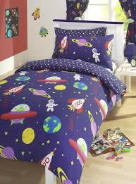 Childrens Cot Bed Duvet Sets Blue Blast Space Rockets Reversible Junior Cot Bed Duvet