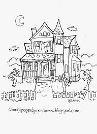 coloring pages for kids by mr adron haunted house free haloween