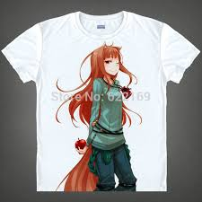 japanese spice and wolf anime t shirt anime holo cotton shirt