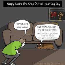 Fireworks Meme - happy scare the crap out of your dog day the oatmeal