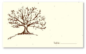 wedding place cards on seeded paper roots of tree grows