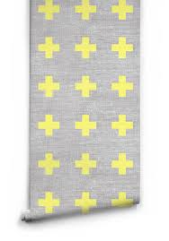 swiss linen yellow plus sign wallpaper milton u0026 king