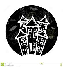 halloween logo black background hand drawn doodle halloween castle black and white pen objects