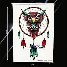 henna dreamcatcher temporary waterproof tattoo sticker owl