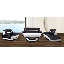 Modern Faux Leather Sofa 4 Pc Black And White Faux Leather Modern Living Room Sofa Set