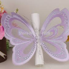 Scroll Wedding Cards Design With Price Purple Glitter Butterfly Scroll Wedding Invitations With