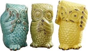 Owl Canisters by August Grove Wise Owl 3 Piece Figurine Set U0026 Reviews Wayfair