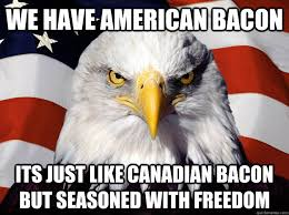 Bacon Memes - we have american bacon its just like canadian bacon but seasoned