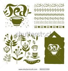set tea logo label design elements stock vector 305521559