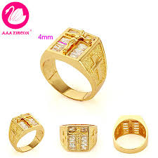 cross gold rings images Men 39 s 18k yellow gold plated cross ring channel setting 2 8 ct jpg