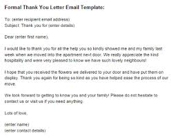 Thank You Letter Email formal thank you letter email template just letter templates