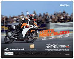honda motor cbr taste first blood u0027 says honda for cbr 150r launch advertising