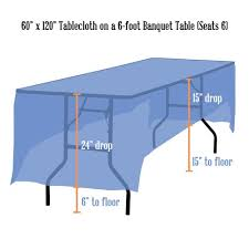 tablecloth for 6 foot table tablecloth rentals linen sizing chart