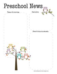 preschool owl newsletter template teaching ideas pinterest