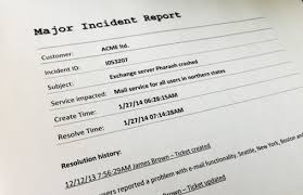 incident report template itil itil major incident management how to handle it