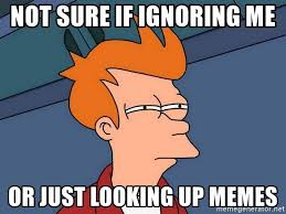 Looking Up Meme - not sure if ignoring me or just looking up memes futurama fry