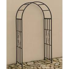 Metal Arbor With Gate Living Accents Black Garden Arbor Arch Gazebos And Canopies