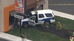 police car crashes into dunkin donuts photo huffpost