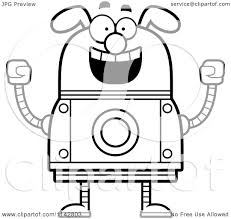 cartoon clipart of a black and white excited dog robot vector