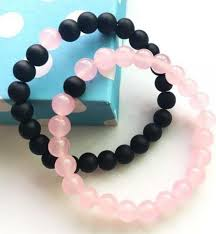 black bracelet pink images Other couples his and hers couple bracelet pink jade black matte jpg
