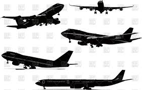 silhouettes of airplane take off landing on airfield flying