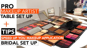 bridal makeup set pro makeup table set up how to improve speed bridal mua tip