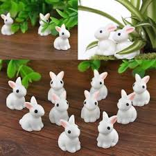 10 miniature white rabbit terrarium figurine garden ornament