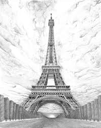 drawn eiffel tower famous building pencil and in color drawn