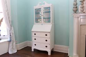 furniture vintage white secretary desk with drawers and hutch