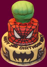 superhero birthday cake hulk spiderman amp batman cakecentral com