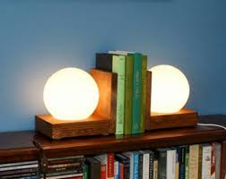 Bookcase Lamps Lamp Bookends Lighting Wood Wooden Book Ends Night Light