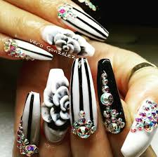 white black rhinestone nails design nailart nails pinterest