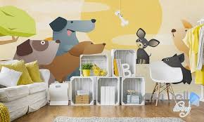 cartoon pet dog meat bones sunrise entire kids room wallpaper wall
